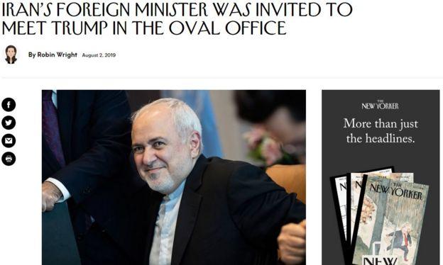 نیویورکر هفته گذشته در گزارشی از دعوت ظریف به کاخ سفید خبر داد؛ دعوتی که به دلیل مخالفت تهران بی نتیجه ماند