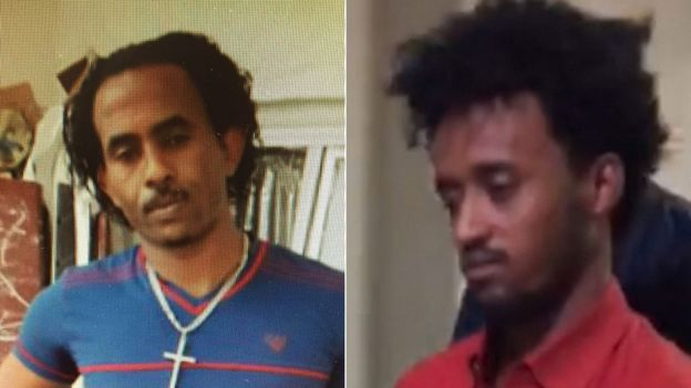 Left: An image of the man believed to be Mered Medhanie previously released by the UK National Crime Agency; Right: the man extradited to Italy
