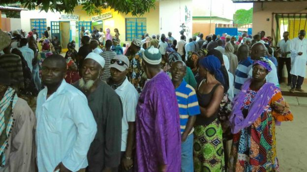 Voters queuing up at a polling station in The Gambia