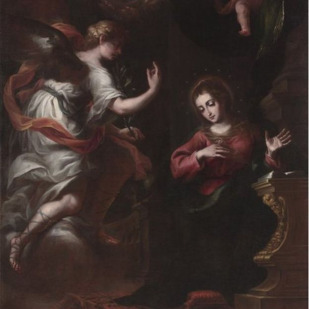 La obra ilustra la escena bíblica de la Anunciación a María. (Foto: Hearst Castle/ CA State Parks)