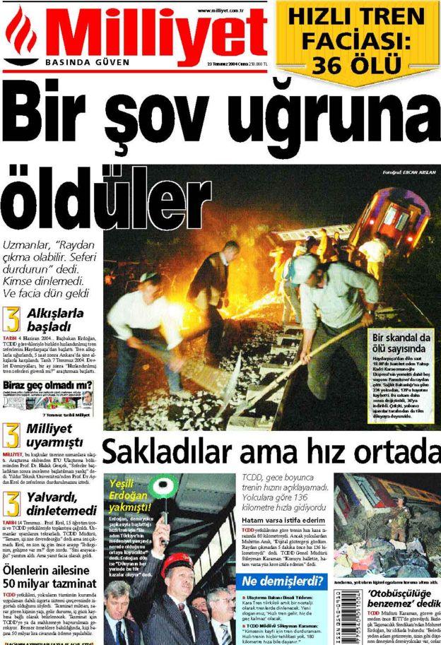 Pamukova tren kazasının ardından Milliyet gazetesinin manşeti