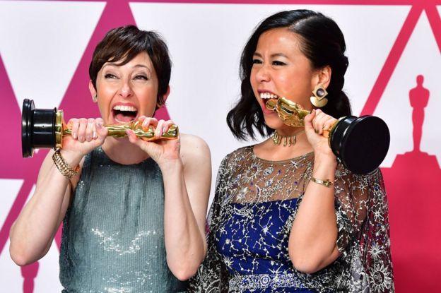 华裔女导演石之予(右)的动画短片《包宝宝》赢得奥斯卡最佳动画短片。