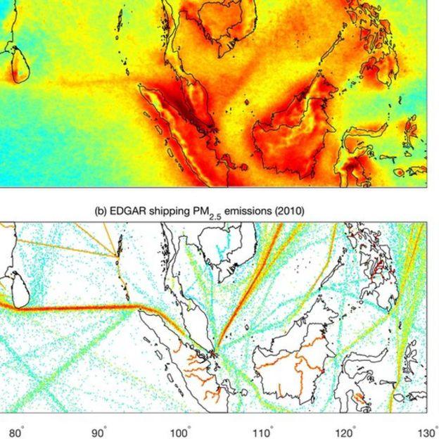 Mapas mostram paralelos entre emissões e occorrência de raios. Foto: Thornton et al