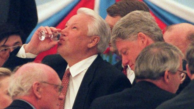 Boris Yeltsin with Bill Clinton and John Major