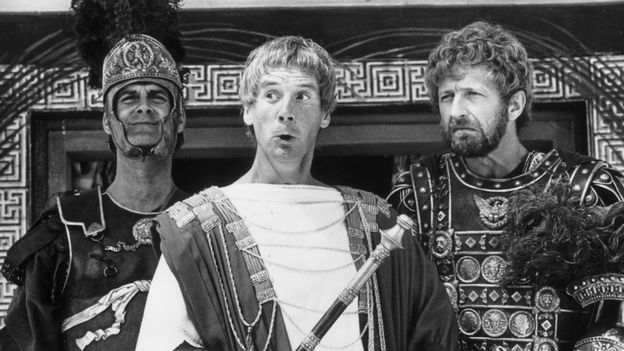 "Members of the British comedy team, Monty Python, during the filming of their controversial film ""The Life of Brian"", John Cleese, Michael Palin as Pontius Pilate and Graham Chapman"