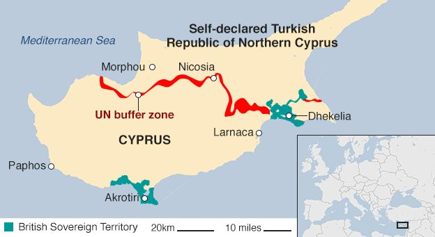 Map of Cyprus showing the Turkish and Cypriot sides