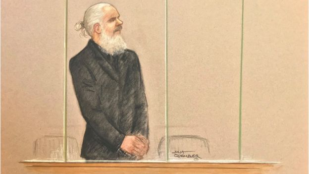 Sketch of Julia Assange at Westminster Magistrates' Court on 11 April 2019