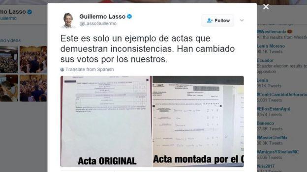 Tuit de Guillermo Lasso en el que compara un acta de votación original con una supuestamente adulterada.