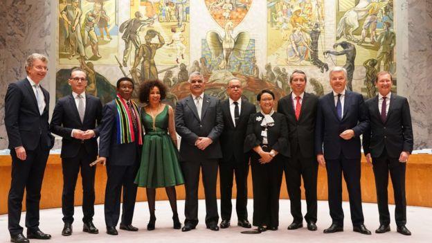 Para Menlu dan Dubes untuk PBB dari Indonesia, Jerman, Belgia, Republik Dominika dan Afrika Selatan.
