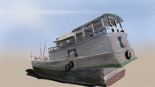 Illustration of a boat on a shore