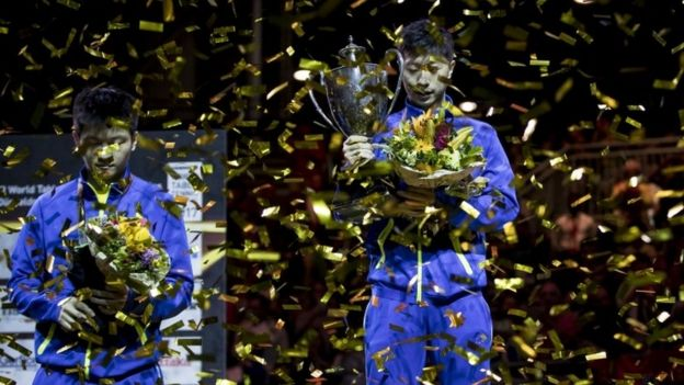 樊振东和马珑在2017年6月上旬杜塞尔多夫世界乒乓球锦标赛上。
