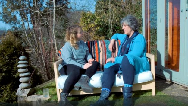 The psychotherapist Cate speaking with the journalist India Rakusen, from the BBC series Like Minds.