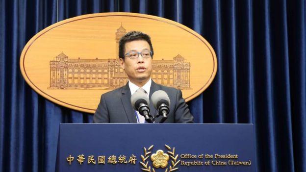 """台灣總統府發言人黃重諺稱,對於美方軍售表示""""歡迎與感謝""""。"""