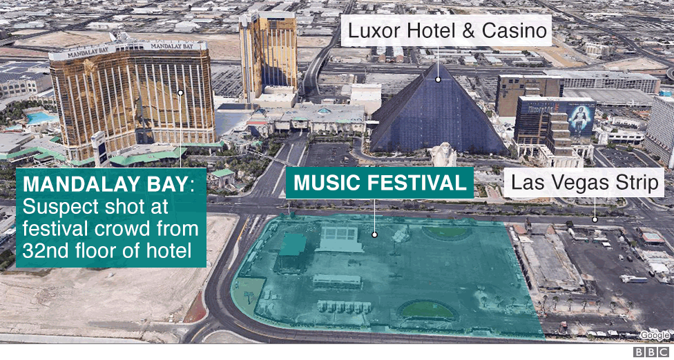 Map of Las Vegas showing Mandalay Bay hotel and scene of mass shooting at music festival