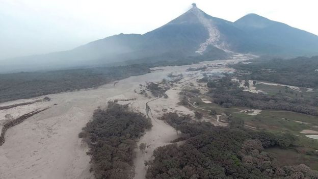 an aerial view of the area around Volcano Fuego after an eruption in Guatemala on June 4, 2018.