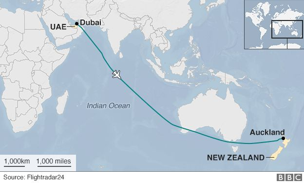 Emirates A380 from Dubai to NZ makes longest non-stop flight - BBC News