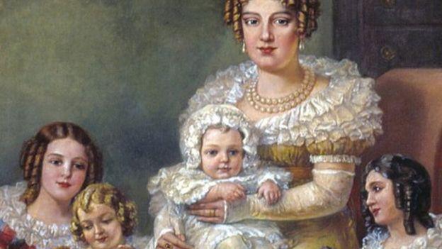Pintura de Domenico Failutti. Leopoldina com os Filhos, D Pedro 2º no seu colo. Acervo do Museu Paulista da USP