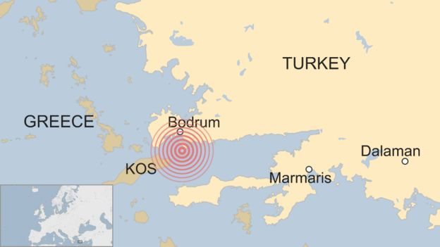 Greece-Turkey earthquake: Two killed on island of Kos - BBC News