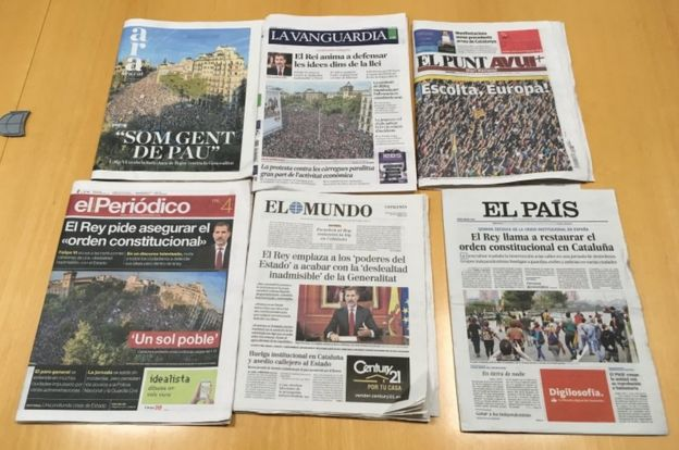 The Catalan protests lead Catalan papers (pictured) but not Spanish ones