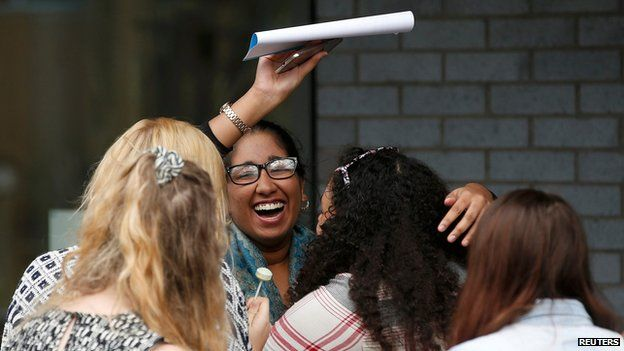 A-level students celebrate at Winstanley College in Wigan