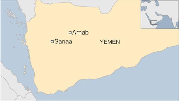 A map of Yemen, showing Arhab