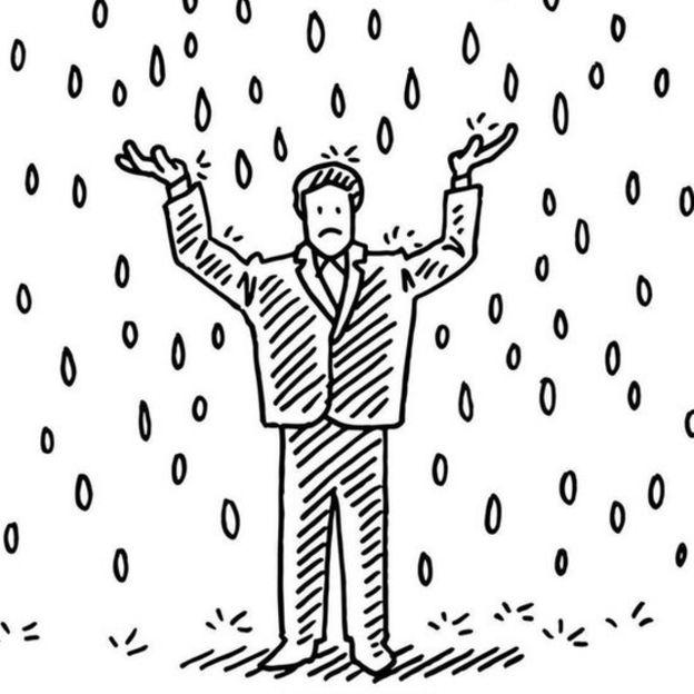 Dibujo de un hombre bajo la lluvia