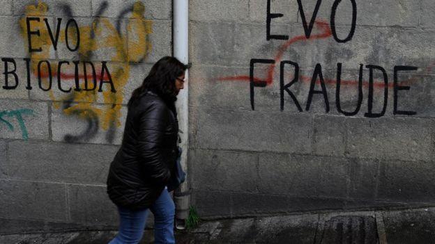 Grafitti contra Evo Morales