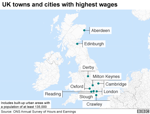 Map Of Uk Towns And Cities.The Uk Towns And Cities With The Highest And Lowest Wages Bbc News