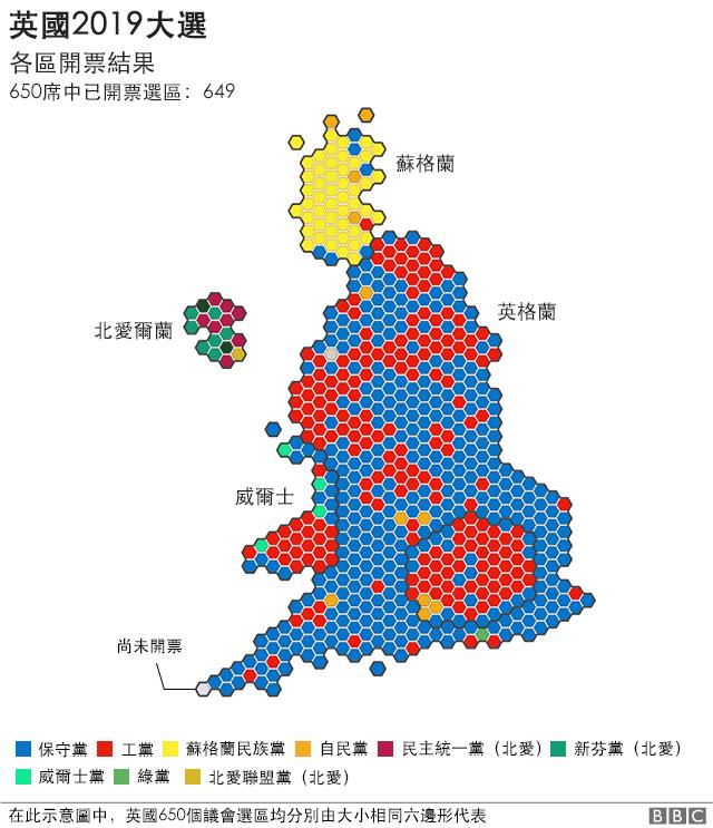 英国大选各区开票情况