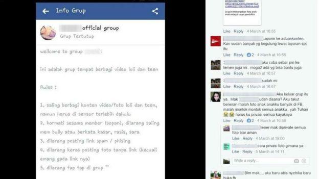 Tela do Facebook com o debate de mães sobre um grupo que compartilhava pornografia infantil