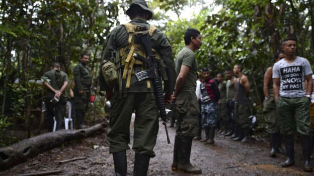 Farc guerrillas at a rebel camp in El Diamante, Caqueta department, Colombia on September 25, 2016