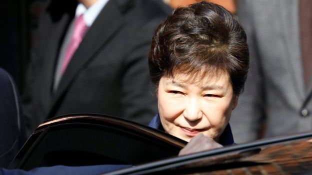 South Korea's ousted leader Park Geun-hye leaves her private house in Seoul, South Korea, on 30 March