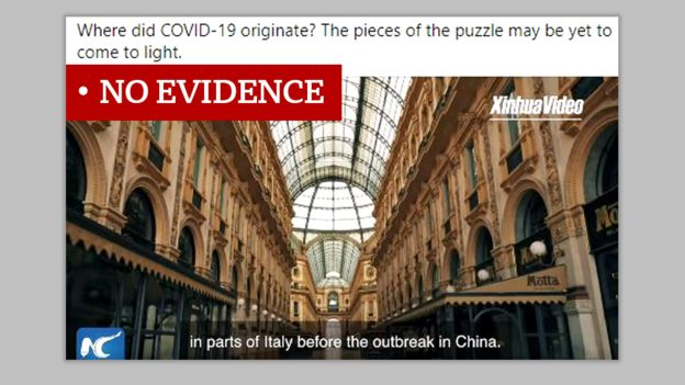 "Image showing a screenshot from a Xinhau video with a title saying ""Where did COVID-19 originate"" and with a subtitle saying ""in parts of Italy before the outbreak in China"".Labeled No Evidence."