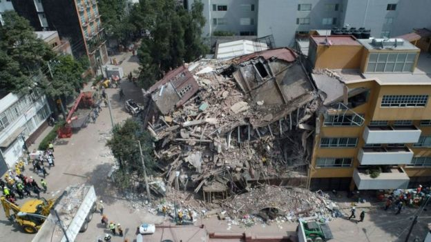 Edificio desmoronado en México tras el terremoto.