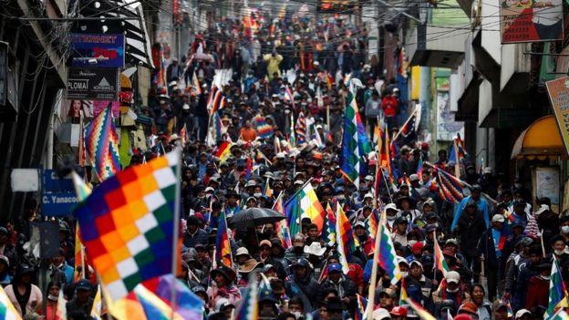 Protesto de apoiadores de Evo Morales em La Paz