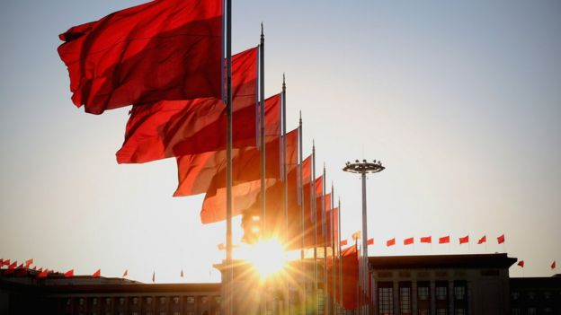 Row of Chinese flags in Beijing