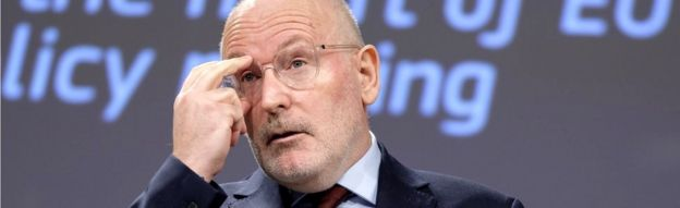 Frans Timmermans gives a talk as the EU Commission headquarters, 15 April 2019