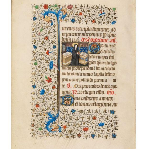 Manuscrito: Abbess Opportuna con personal y libro.