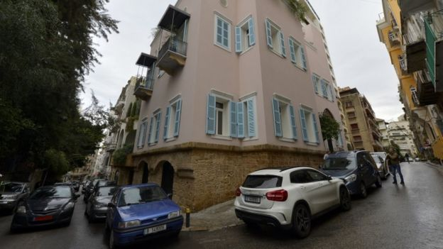 An outside view of a house identified by court documents as belonging to Carlos Ghosn in Beirut,