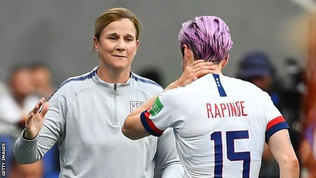 USA boss Jill Ellis with striker Megan Rapinoe