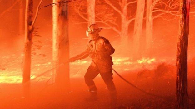 Bombeiro com mangueira em meio a fogo em floresta na Austrália