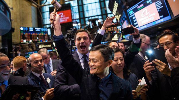 Jack Ma en su debut en la bolsa de Nueva York.