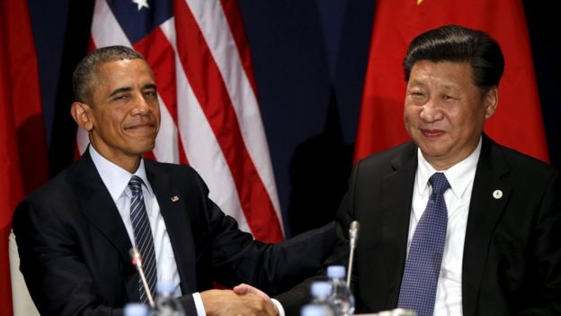 U.S. President Barack Obama shakes hands with Chinese President Xi Jinping during their meeting at the start of the climate summit in Paris November 30, 2015.
