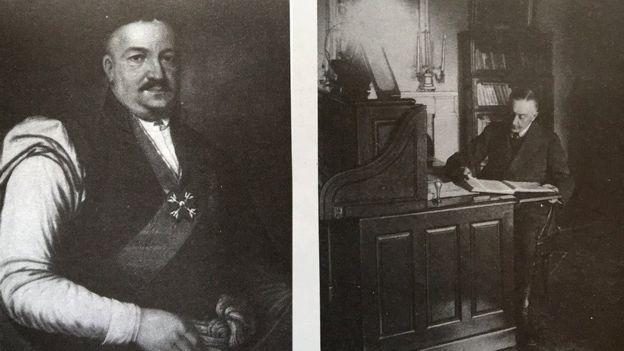 Ліворуч - портрет королівського ловчого Яна Онуфрія Орловського, праворуч - останній власник палацу Ксаверій Орловський у кабінеті