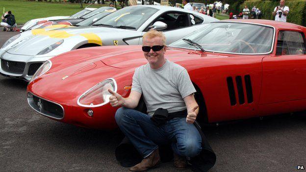 Chris Evans posing in front of classic Ferraris