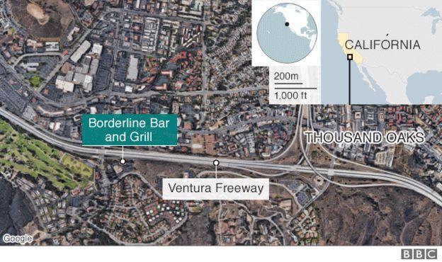 Mapa mostra o bar na Califórnia