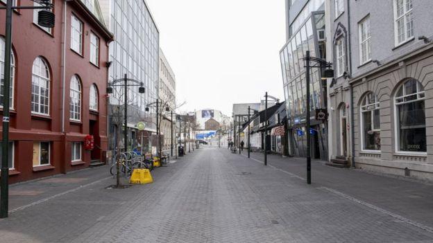 Austurstraeti street in downtown Reykjavik, Iceland on April 3, 2020.