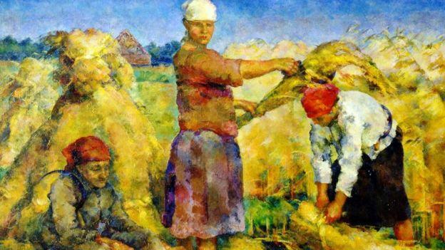 """A colheita"", 1925, do artista Vasily Rozhdestvensky"