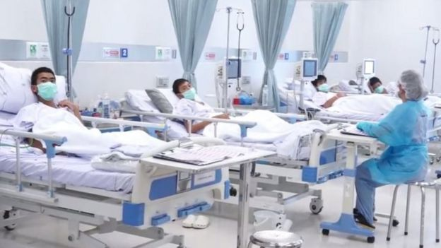 Rescued Thai boys in Chiang Rai hospital
