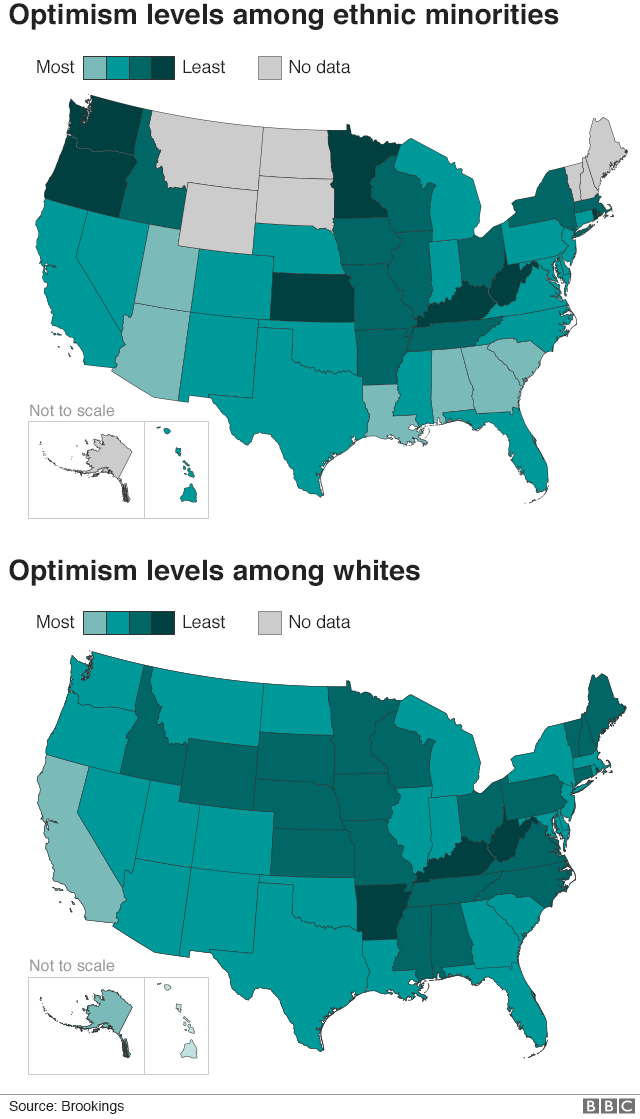 Map showing levels of optimism for white and ethnic minority people across the US